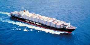 陽明海運股份有限公司所屬吉明輪系列全貨櫃輪於海上航行英姿