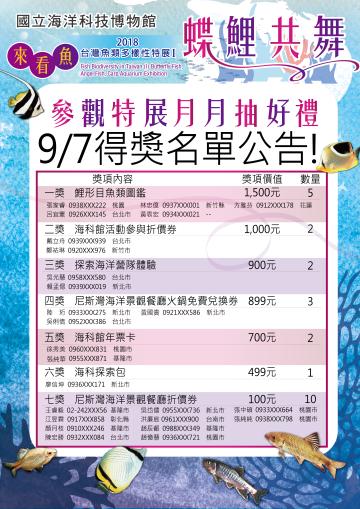 開新視窗,參觀特展月月抽好禮_9/7得獎名單 (點圖放大)